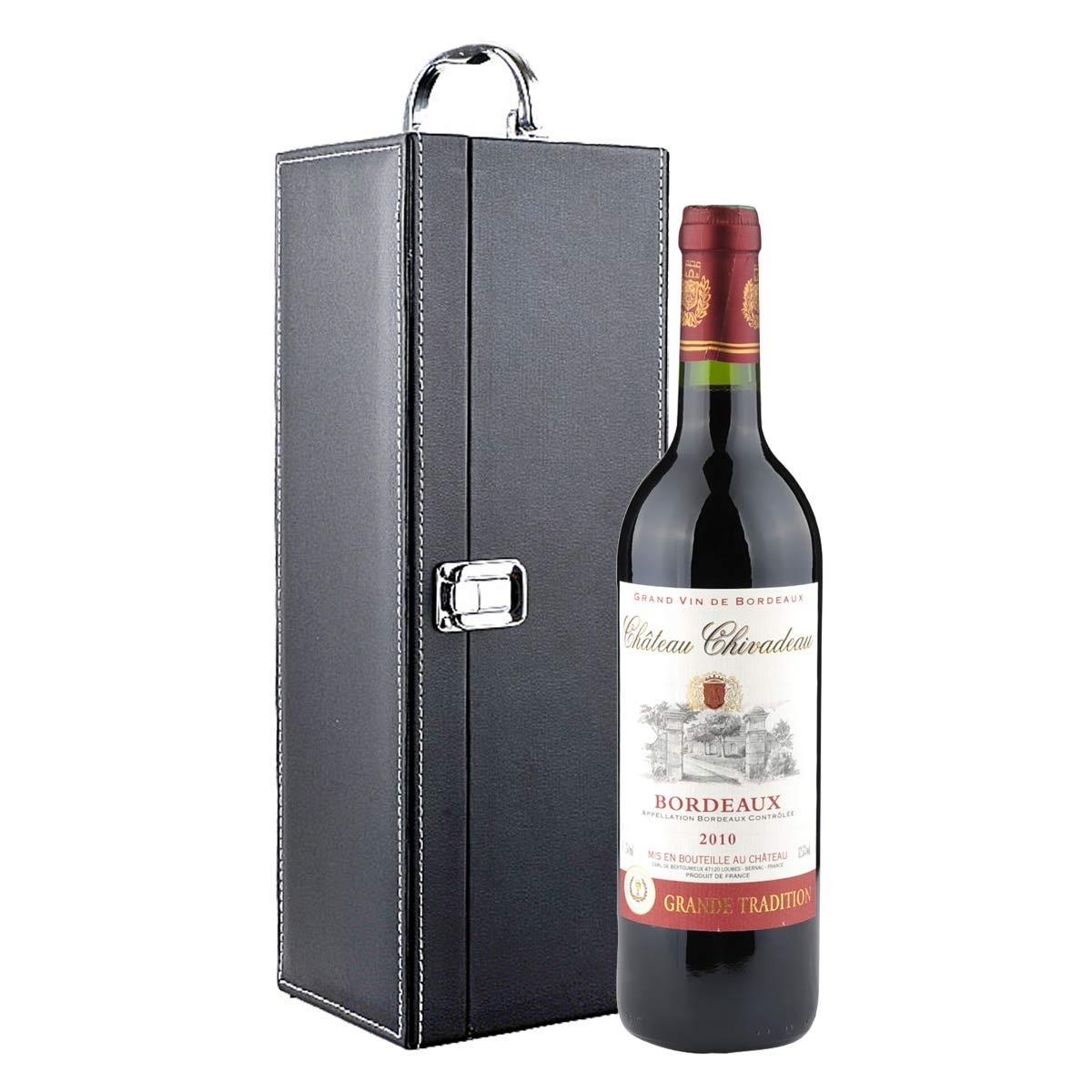 法国查威度古堡波尔多干红葡萄酒礼盒