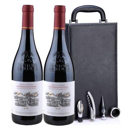 法国博斯克2010干红葡萄酒黑色双支皮盒