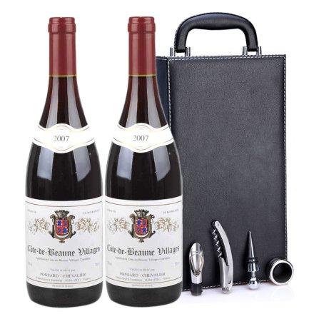 法国宝娜2007干红葡萄酒黑色双支皮盒