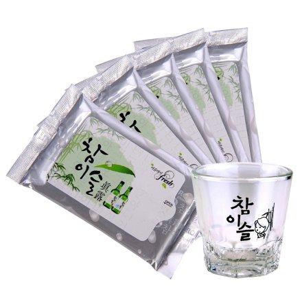 JINRO真露烧酒专用玻璃杯+真露湿巾*5