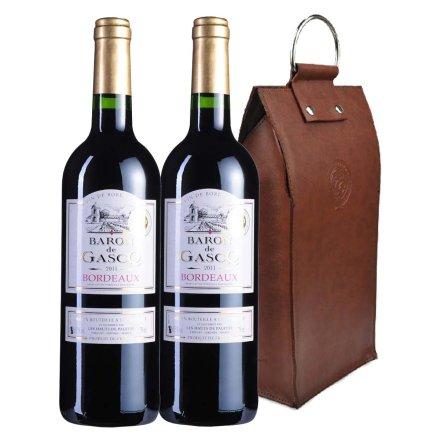 法国波尔多拜伦城堡2011干红葡萄酒双支皮袋装