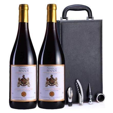法国贝纳德窖藏罗纳河谷2009干红黑色双支皮盒