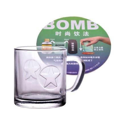 炸弹二锅头炸弹玻璃杯+炸弹二锅头时尚饮法杯垫