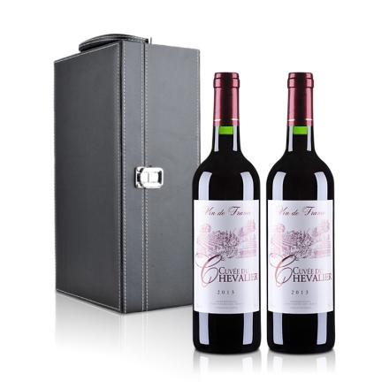 法国古崴骑士红葡萄酒双支黑色礼盒装