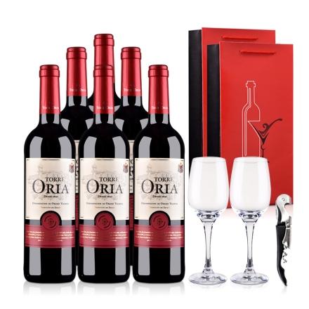 西班牙奥兰骑士酒庄欧瑞雅DO级干红葡萄酒750ml(6瓶装)酒杯酒刀