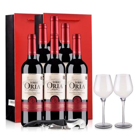 西班牙奥兰骑士酒庄欧瑞雅DO级干红葡萄酒750ml(6瓶装)酒杯/酒刀