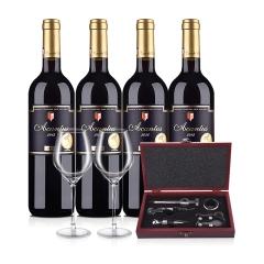 西班牙进口红酒 圣霞多·爱肯特斯干红葡萄酒 750ml(4瓶装)+5件套酒具木盒+嘉年华小黑皮诺手工水晶杯(500ML)*2
