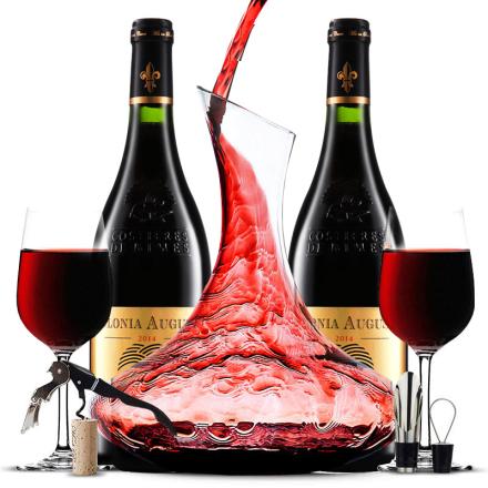 法国原瓶进口AOC级红酒 新教皇堡珍藏干红葡萄酒重型雕花瓶 双支醒酒器装750ml*2