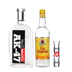 40°AK-47伏特加500ml+40°法国哈顿金酒1000ml(送两个洋酒杯)