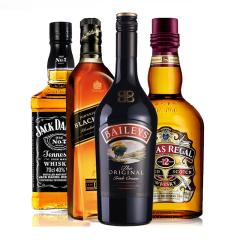 四大洋酒烈酒鸡尾酒基酒套装 黑方百利甜芝华士杰克丹尼威士忌