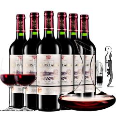 法国红酒路易拉菲干红葡萄酒红酒整箱醒酒器装750ml*6