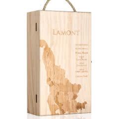 【仅礼盒,无酒】法国拉蒙 双支装波尔多红酒松木礼盒\葡萄酒包装木盒\红酒礼盒