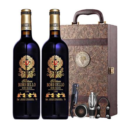 法国原瓶进口博列诺酒庄干红葡萄酒红酒凤尾礼盒装750ml*2