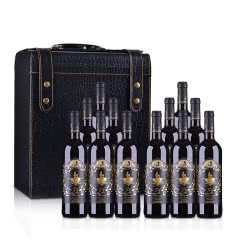 【礼酒特卖】整箱红酒西班牙DO级安徒生美人鱼干红葡萄酒750ml*12 +鳄鱼皮六支装皮盒