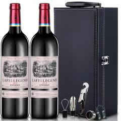 法国原瓶进口拉菲传奇德罗干红葡萄酒红酒送皮盒750ml*2