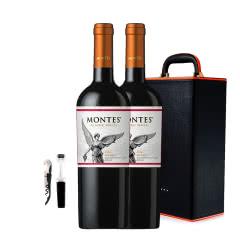 智利进口蒙特斯经典玛尔贝干红葡萄酒750ml*2皮盒装