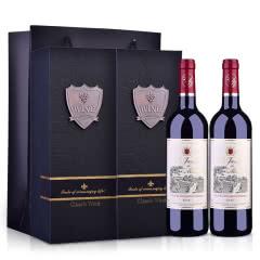 【礼品礼盒装】法国原瓶进口红酒莫奈庄园干红葡萄酒750ml双支礼盒
