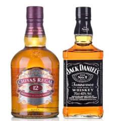 40°芝华士12年苏格兰威士忌700ml+40°美国杰克丹尼700ml
