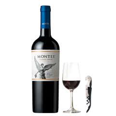 智利进口蒙特斯经典梅洛干红葡萄酒750ml赠送杯子+开瓶器