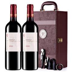 【中级庄】法国原瓶进口红酒梅多克图卡斯特隆酒庄2013干红葡萄酒红酒礼盒装750ml*2