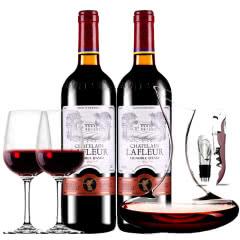法国原瓶进口红酒拉斐天使葡园干红葡萄酒红酒双支醒酒器装750ml*2