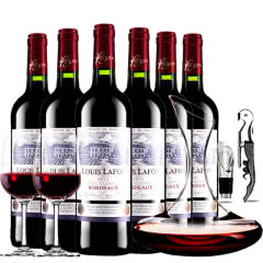 法国波尔多原瓶进口红酒路易拉菲典藏AOC干红葡萄酒红酒整箱醒酒器装750ml*6