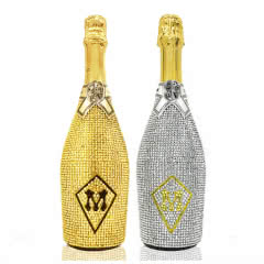 意大利土豪金银镶钻甜白低醇香槟塞高泡起泡气泡酒原瓶进口750ml*2