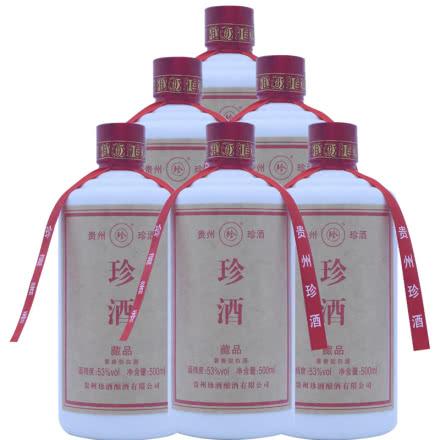 53°珍酒老藏品 贵州酱香型白酒 易地茅台酒 固态纯粮 500ml*6瓶
