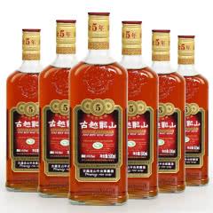 绍兴黄酒古越龙山金五年绍兴花雕酒 500mlx6瓶装糯米老酒