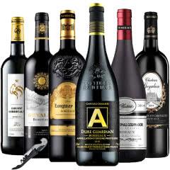 法国原瓶进口红酒波尔多AOC/AOP干红葡萄酒750ml*6(组合套装)