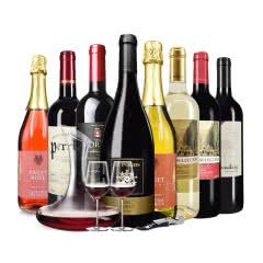 裕泉红酒整箱组合8支装 意大利起泡酒法国澳洲西班牙智利原瓶进口干红干白葡萄酒