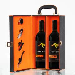 南山庄园红酒礼盒装澳大利亚原装原瓶进口红酒2支皮盒装