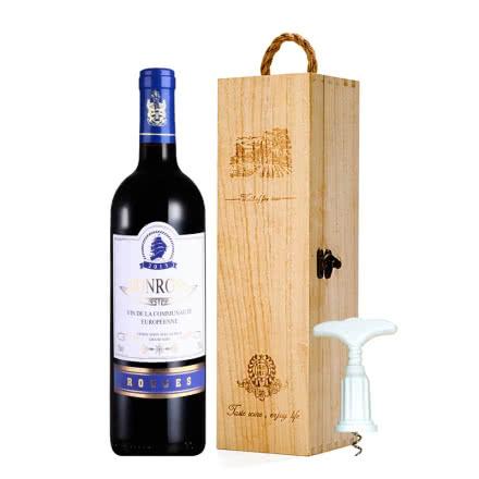 法国原瓶进口宾露干红葡萄酒红酒(蓝钻)单支礼盒木盒装750ml*1