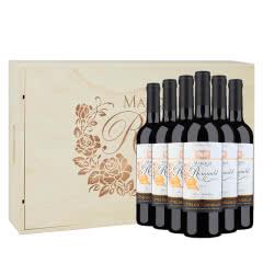 【礼品礼盒装】法国原瓶进口红酒罗穆德侯爵干红葡萄酒750ml*6装箱木盒装