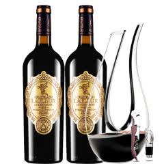法国进口红酒拉斐天使庄园干红葡萄酒双支醒酒器装750ml*2
