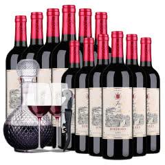 法国进口红酒莫奈庄园波尔多AOP干红葡萄酒750ml *12超值装 送酒具礼包