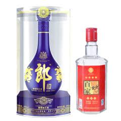 53°郎酒青花郎500ml+45°百家坊(十年笑玻璃瓶)2006-2007年 450ml