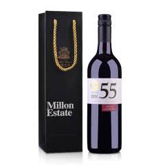 【包邮】澳大利亚原瓶进口红酒米隆庄园BIN55色拉子赤霞珠干红葡萄酒750ml+米隆庄园单支黑色手提袋(乐享)