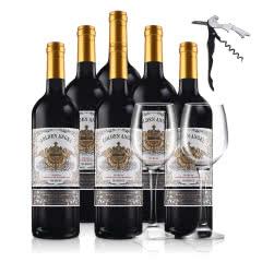 法国红酒(原瓶进口)金色天使赤霞珠梅洛干红葡萄酒整箱750ml*6送双支红酒杯+酒刀开瓶器