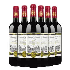 法国原瓶原装进口红酒 AOC/AOP级波尔多法定产区干红葡萄酒750ml(6瓶装)