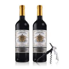 法国红酒(原瓶进口)金色天使赤霞珠梅洛干红葡萄酒750ml*2送酒刀开瓶器