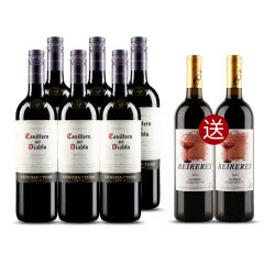 红魔鬼葡萄酒 智利原装原瓶进口红酒六支装  梅洛  750ml*6