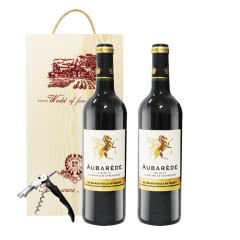 法国澳巴锐德干红葡萄酒750ml*2瓶(礼盒装)
