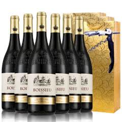 法国.原瓶进口13.5度AOC级博塞尔干红葡萄酒红酒送礼袋送海马刀750ml* 6
