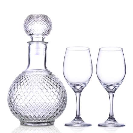 【包邮】酒具套装(机制高脚玻璃酒杯315ml*2+醒酒器1000ml)