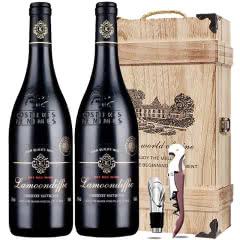 法国原酒进口红酒 圣图干红葡萄酒浮雕重型瓶双支礼盒木盒装750ml*2瓶
