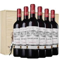 路易拉菲红酒波尔多窖藏干红葡萄酒法国原装原瓶进口红酒六支送礼木盒装