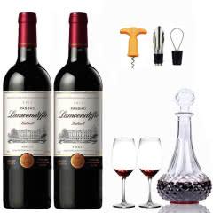法国原酒进口红酒 西拉干红葡萄酒送醒酒器酒具套装750ml(2支装)
