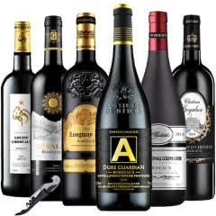 法国原瓶进口波尔多AOC级组装混搭6瓶干红葡萄酒750ml(6支装)