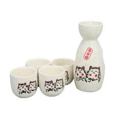 招财猫清酒酒具套装(酒壶+4杯子)